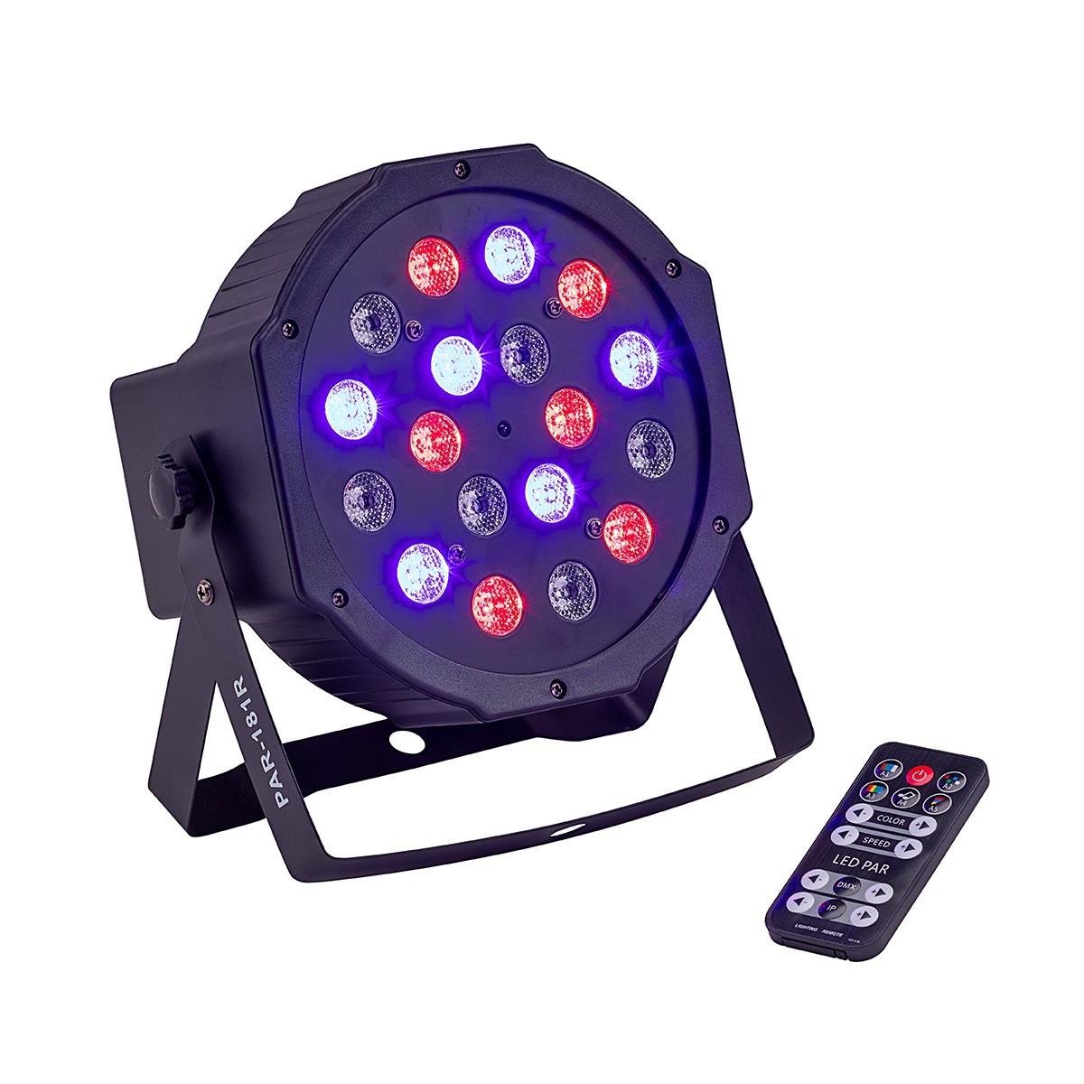 PROIETTORE LED SOUNDSATION PAR-181R 18X1W 6R 6G 6B CON TELECOMANDO